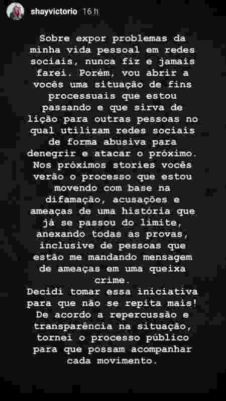 Postagem de Shay Victorio - Reprodução/Instagram - Reprodução/Instagram