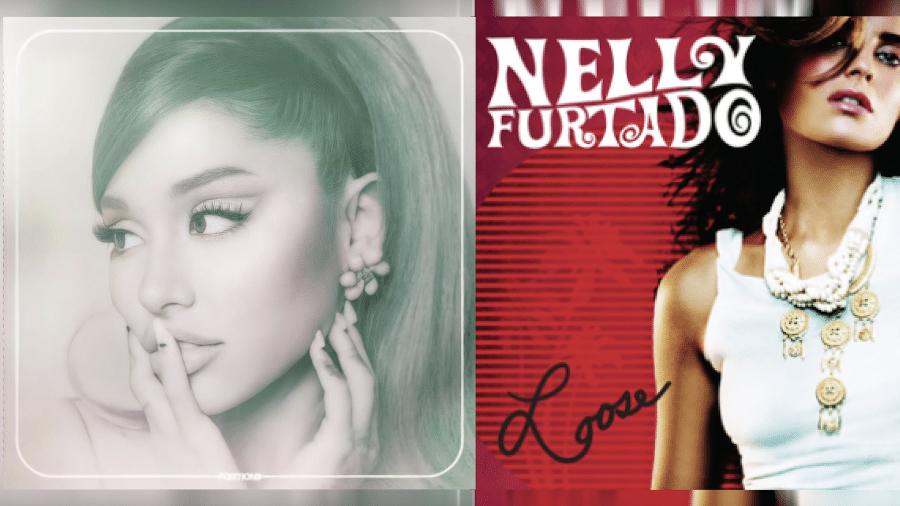 """Capa dos álbuns de """"positions"""" (de Ariana Grande) e """"Loose"""" (de Nelly Furtado) - Reprodução / YouTube"""