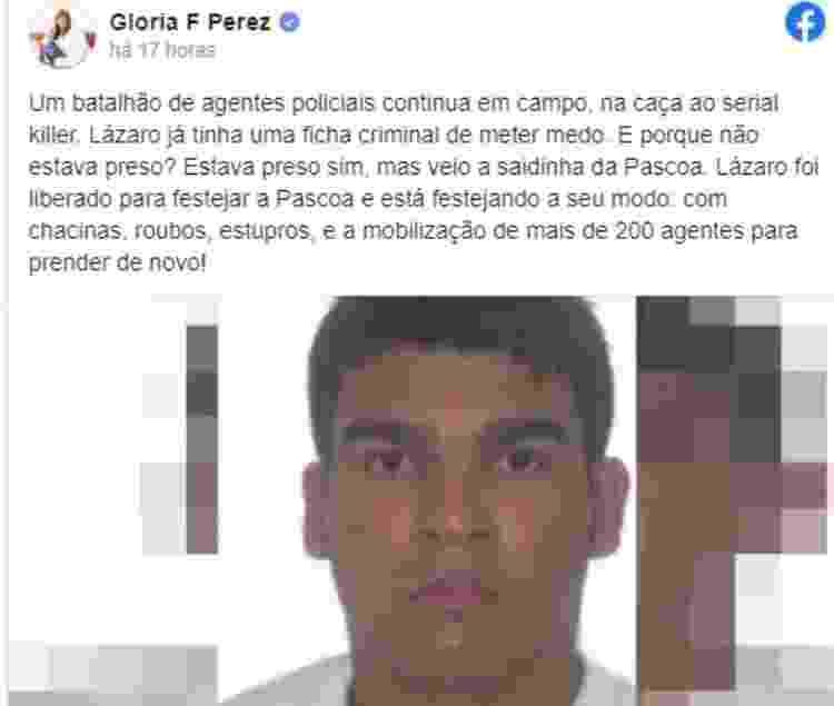 Post Glória Perez - Reprodução/Facebook - Reprodução/Facebook