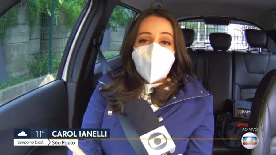 Carol Ianelli afirmou que o acidente aconteceu instantes antes de entrar no ar, mas todos da equipe estão bem - Reprodução