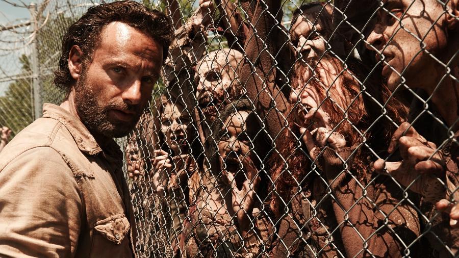 "Andrew Lincoln como Rick Grimes, de ""Walking Dead"" - Reprodução"