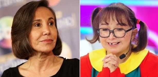 """Florinda Meza (à esquerda) e Maria Antonieta de las Nieves, do elenco de """"Chaves"""" - Montagem/UOL"""