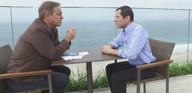 Gugu entrevista o jornalista Arnaldo Duran, que foi diagnosticado com síndrome de Machado-Joseph, mesma doença que matou o ator Guilherme Karan - Record/Divulgação