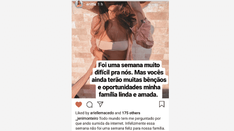 Anitta lamenta aborto espontâneo da cunhada - Reprodução/Instagram - Reprodução/Instagram