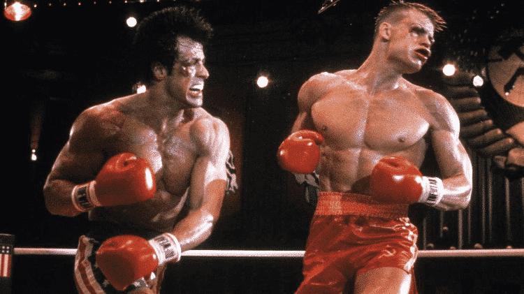 """Sylvester Stallone e Dolph Lundgren em cena de """"Rocky IV"""" (1985) - Reprodução - Reprodução"""