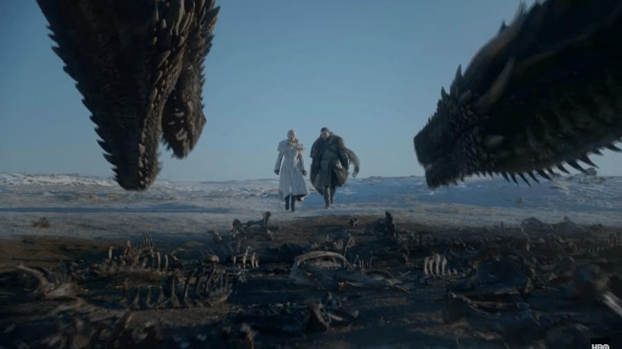 """Daenerys e Jon  em trailer da oitava temporada de """"Game of Thrones"""" - Reprodução/YouTube"""