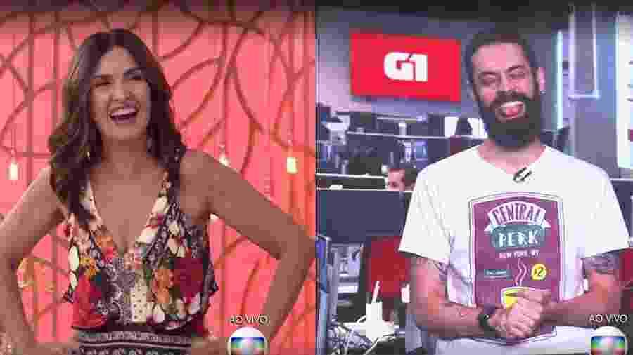 Fátima Bernardes se diverte com pedido de desculpa de Cauê Fabiano após ser enganada no 1º de abril - Reprodução/Globo