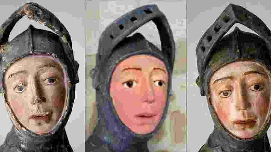 Combinação de imagens mostra escultura antes e depois das restaurações - Handout / NAVARRA GOVERNMENT / AFP