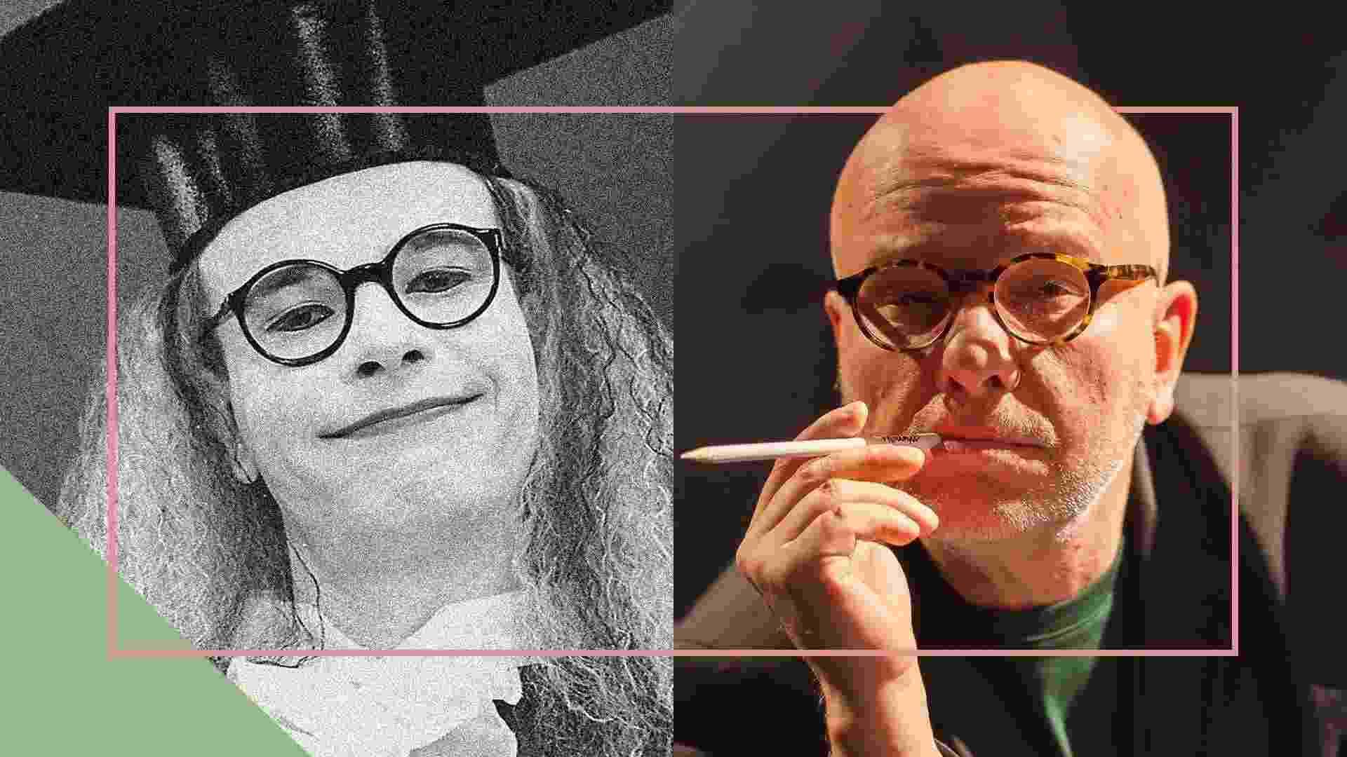 Marcelo Tas como Professor Tibúrcio e atualmente - Arte UOL
