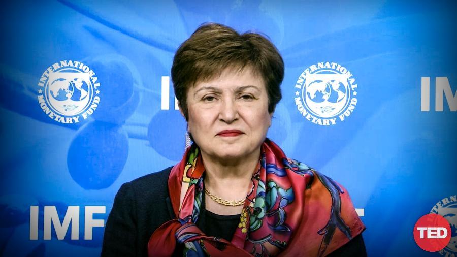 A economista Kristalina Georgieva, chefe do FMI, durante conversa com Chris Anderson, no TED2020 - Divulgação/TED