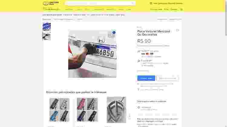placa mercosul clonagem falsificação mercado livre - Reprodução - Reprodução