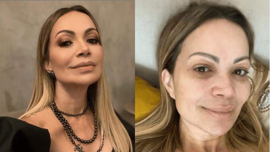 Solange Almeida mostrou como é com e sem maquiagem e fez uma crítica aos que julgam somente pela aparência. - Reprodução/Instagram