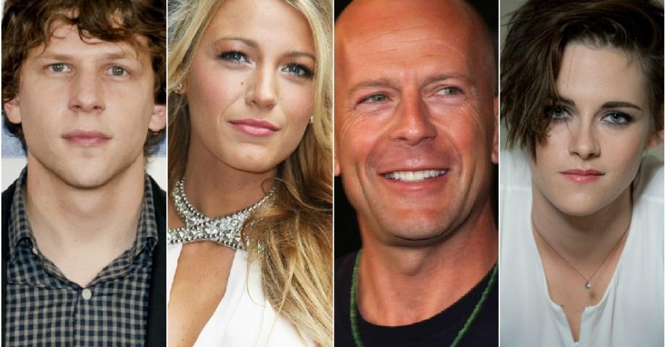 Colagem com o elenco do próximo filme de Woody Allen: Jesse Eisenberg, Blake Lively, Bruce Willis e Kristen Stewart