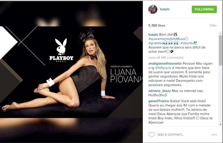 """12.mar.2016 - A atriz Luana Piovani, que será o destaque da edição de lançamento da nova """"Playboy"""", posou como coelhinha da revista e ganhou elogios de seus seguidores"""