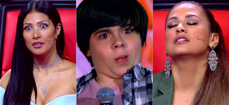 """Espanto de Simaria, careta de Guilherme Martinez e alívio de Simone viraram memes no """"The Voice Kids"""" - Montagem/Reprodução/TV Globo"""