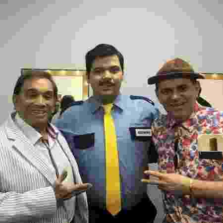 """Dedé Santana, Gustavo Mendes e Batoré nos bastidores da série """"Treme Treme"""", do canal pago Multishow - Arquivo pessoal - Arquivo pessoal"""