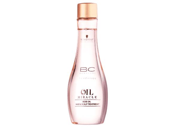 BC Bonacure Oil Miracle Rose: óleo que acalma a irritação do couro cabeludo. R$ 139,90,  Schwarzkopf Professional, belezanaweb.com.br - Divulgação