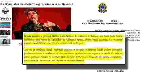 """Reprodução de trechos de artigo sobre """"12 projetos mais bizarros"""" da Lei Rouanet e (abaixo) de requerimento apresentado à Câmara com o mesmo texto - Montagem UOL/Spotniks.com, Camara.gov.br"""