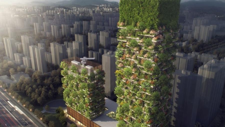 Torres verdes de Nanjing, China - Divulgação/Site Oficial/ stefanoboeriarchitetti.net