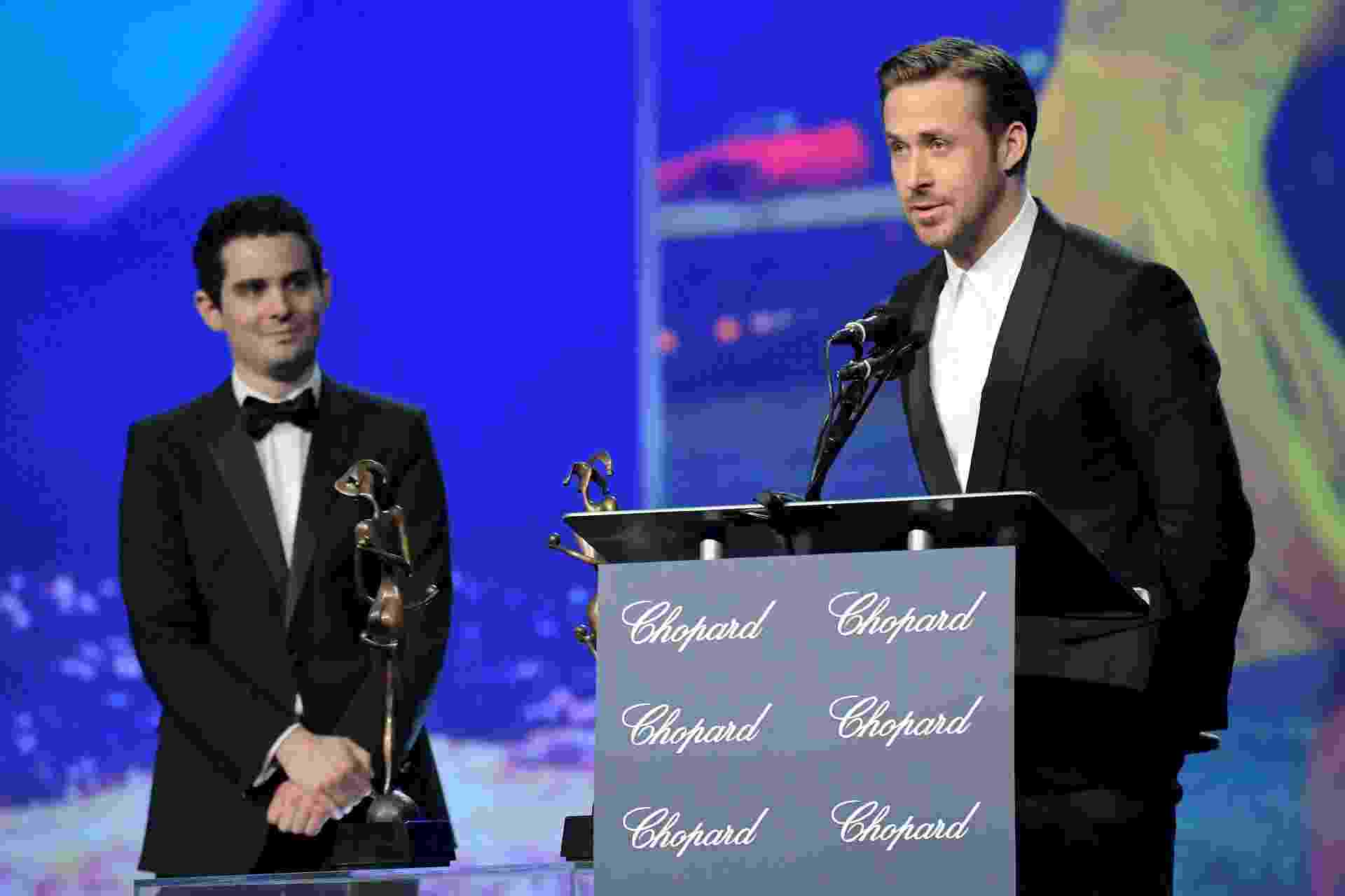 "O diretor Damien Chazelle e o ator Ryan Gosling, de ""La La Land"", participam do Festival de Cinema de Palm Springs - Charley Gallay/Getty Images for Palm Springs International Film Festival"