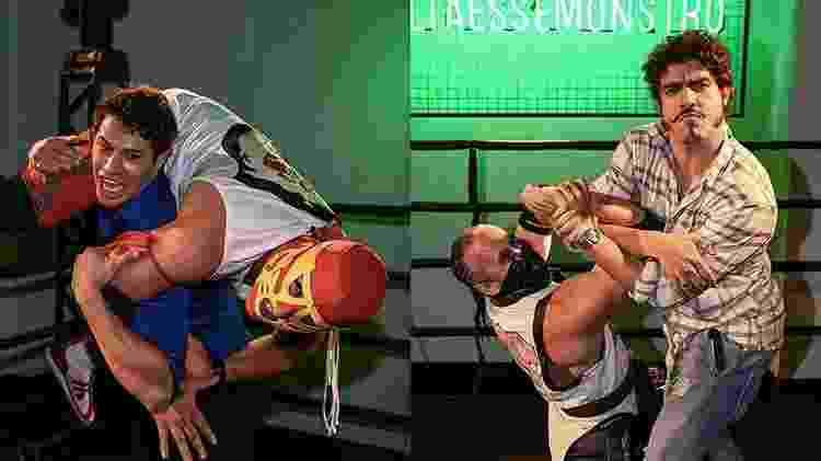 José Loreto e Caio Castro brincam com lutadores durante evento em São Paulo - Raphael Castello/AgNews - Raphael Castello/AgNews