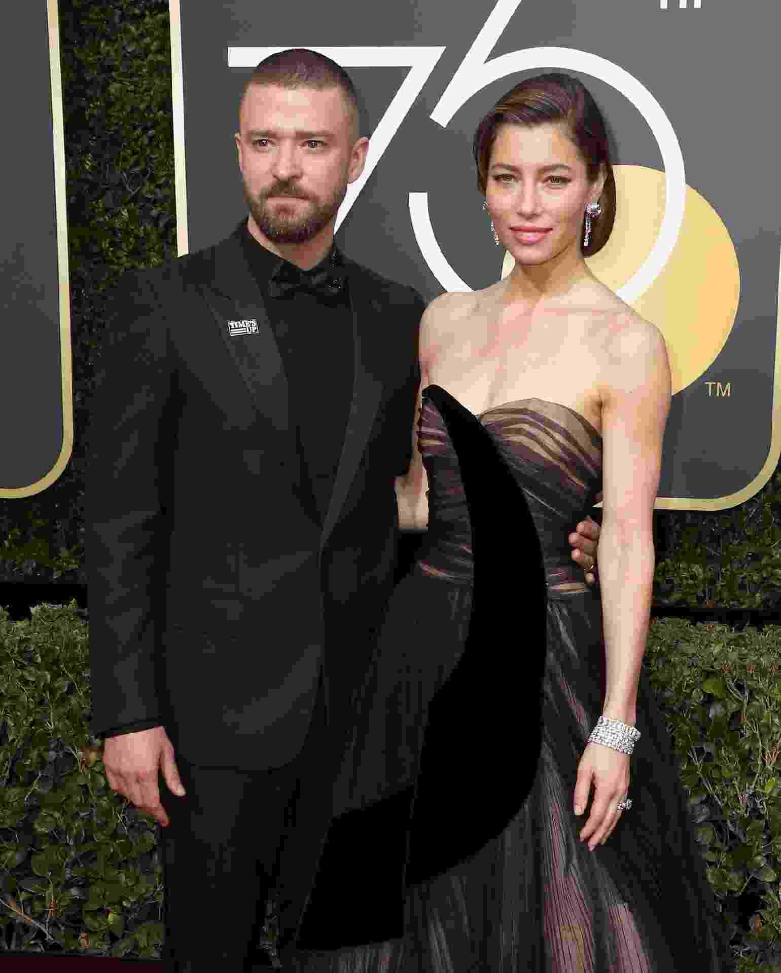 Justin Timberlake e Jessica Biel chegam ao Globo de Ouro 2018 - Getty Images