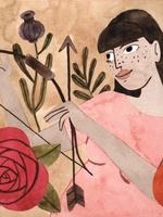 Ilustração de uma personagem representando o signo de Sagitário. Vestida com camisa na cor salmão, a personagem possui forma humana, enquadramento de cintura e está posicionada de frente, segurando um arco e flecha. O fundo da imagem é bege, acompanhado por algumas flores nas cores roxo, vermelho, laranja e algumas plantas verdes.