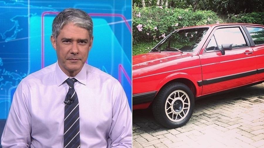William Bonner exibe seu carro de estimação: um Gol GT 1986 - Montagem/UOL/Reprodução/TV Globo/Instagram/realwbonner
