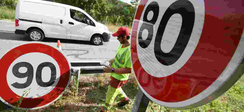 Limite de velocidade menores são medidas tomadas em todo o mundo; na imagem, redução na região metropolitana de Paris (França) - SEBASTIEN BOZON/AFP