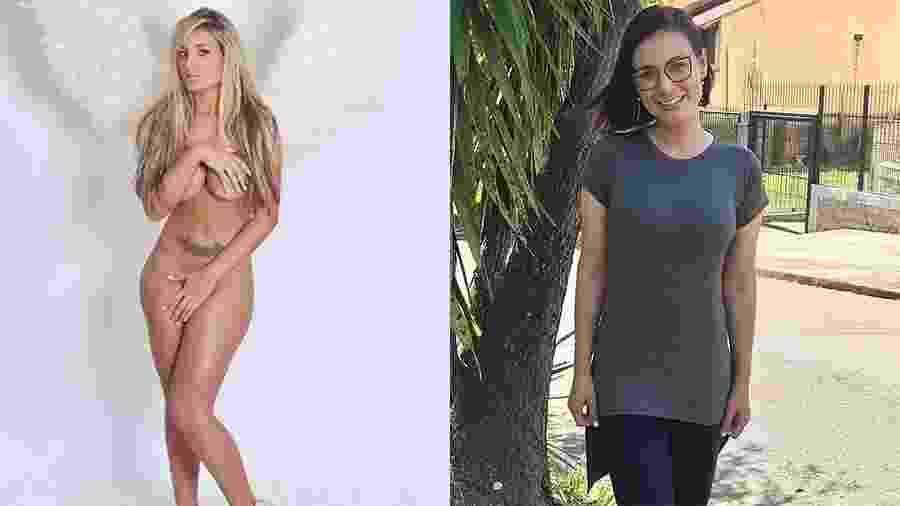 Andressa Urach em dois momentos de sua vida: em ensaio sensual em 2013 e em foto atual após virar missionária evangélica - Divulgação e Reprodução/Instagram