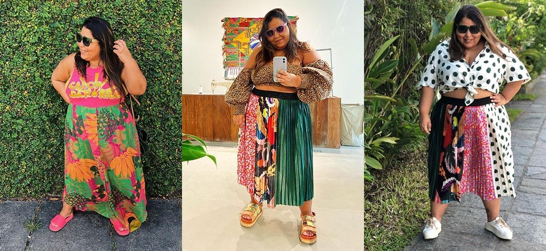 Mariana Rodrigues veste peças da Farm garimpadas entre os tamanhos G - Arquivo Pessoal