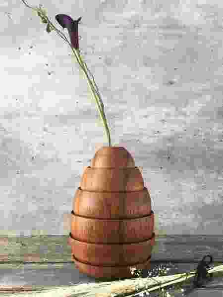 Vaso de marcenaria feito em camadas - Arquivo Pessoal - Arquivo Pessoal