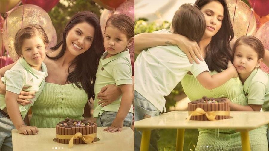 Andressa Suita comemorou o aniversário ao lado dos filhos - Reprodução/Instagram