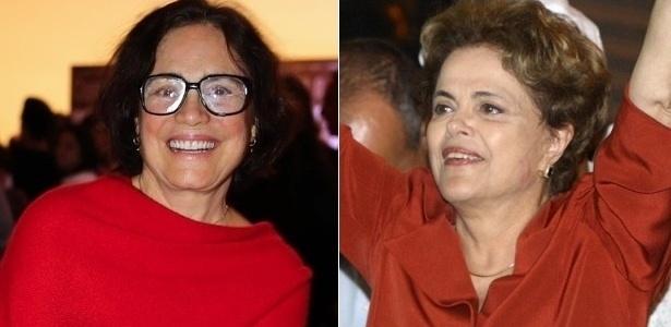 Montagem com a atriz Regina Duarte e a presidente afastada Dilma Rousseff - Montagem/UOL