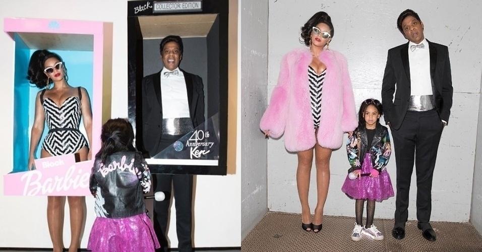 31.out.2016 - Beyoncé e Jay-Z se transformam em Barbie e Ken para festa de Halloween