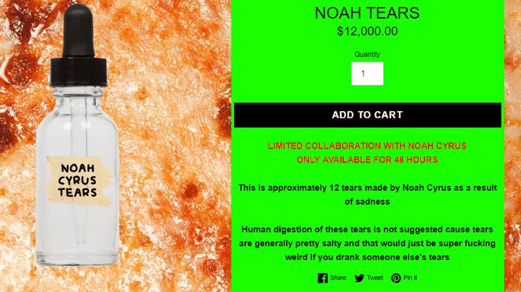 Noah Cyrus vende suas lágrimas na internet - Reprodução - Reprodução