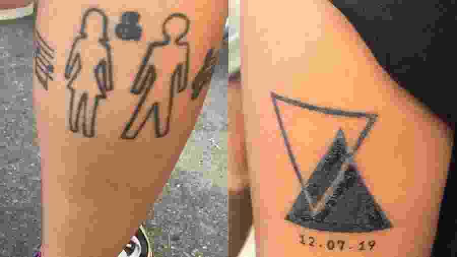 Jennifer Figueira, 30, tatuou o show de despedida, em 2007, e o show de retorno de Sandy em Junior, em 2019 - Renata Nogueira/UOL