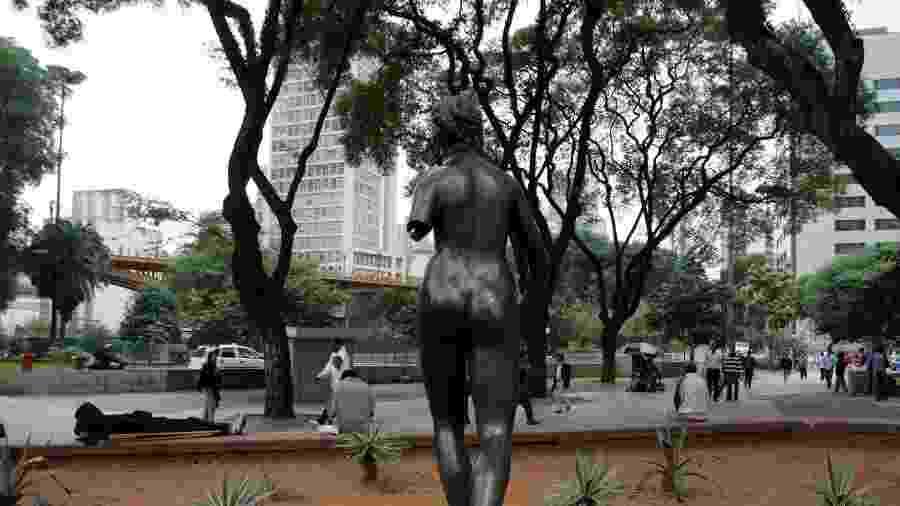 """Escultura """"Diana, a Caçadora"""" foi furtada da Praça Pedro Lessa em meio às obras de remodelação da região - Antônio Milena/Estadão Conteúdo"""