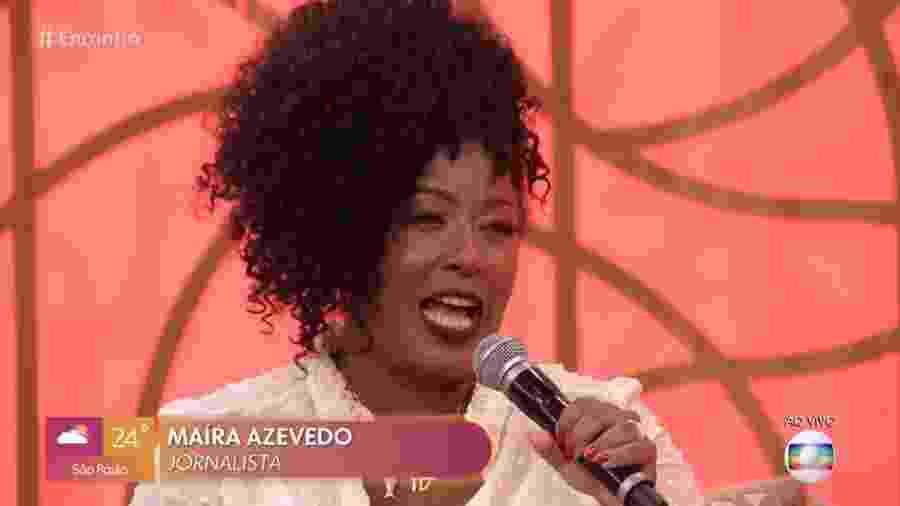 A jornalista Maíra Azevedo, conhecida como Tia Má, no Encontro - Reprodução/Globo