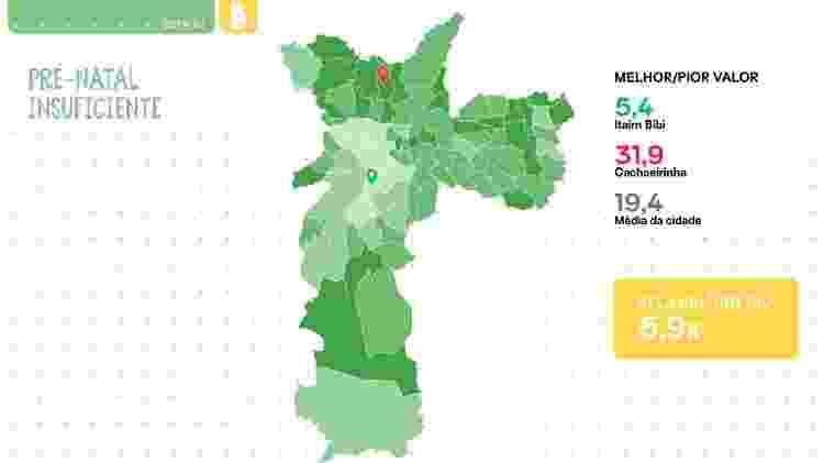 Cachoeirinha, na periferia da zona norte de São Paulo, é o distrito com maior número de pré-natal insuficiente - Mapa da Desigualdade da Primeira Infância/Reprodução