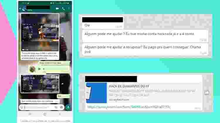 """Cenas comuns nos grupos: usuários denunciando """"ladrões"""", outros divulgando links suspeitos, enquanto alguns pedem ajuda para recuperar contas perdidas - Reprodução"""