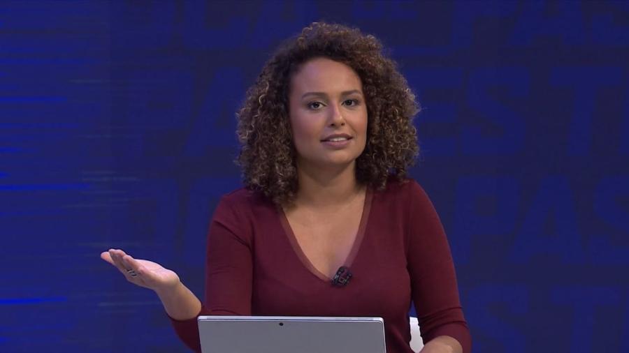 Karine Alves no Troca de Passes, do Sportv: apresentadora foi fixada no programa pela Globo  - Divulgação
