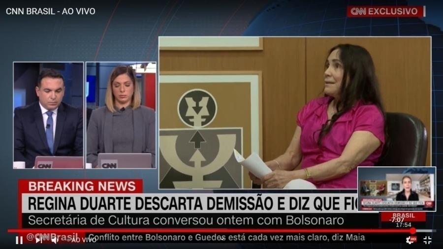Regina Duarte durante entrevista à CNN - reprodução/CNN