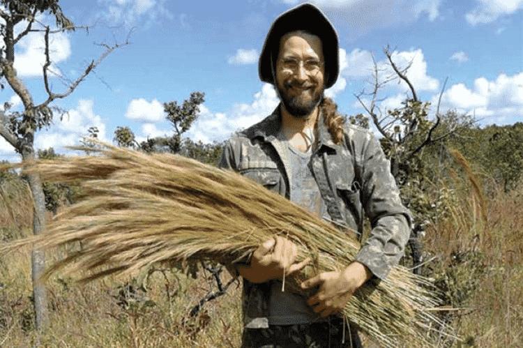 Alexandre Sampaio durante uma das primeiras colheitas de capins nativos em 2011 - Daniel Vieira - Daniel Vieira