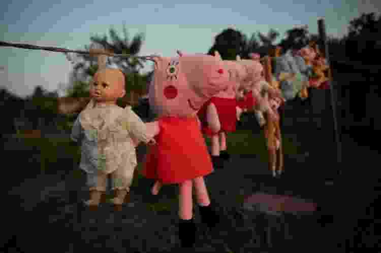 Varal de brinquedos de comunidade na ilha do Marajó, no Pará - Julia Dolce/Agência Pública - Julia Dolce/Agência Pública