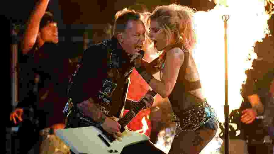 Em 2017, Gaga cantou com o Metallica no Grammy - Kevork Djansezian/Getty Images/AFP