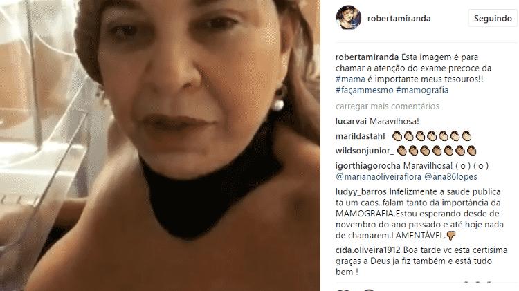 Roberta Miranda exibe seios em vídeo durante mamografia e fãs elogiam atitude - Reprodução/Instagram - Reprodução/Instagram