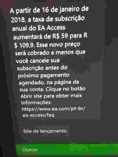 Mensagem enviada a assinantes do EA Access no Xbox One