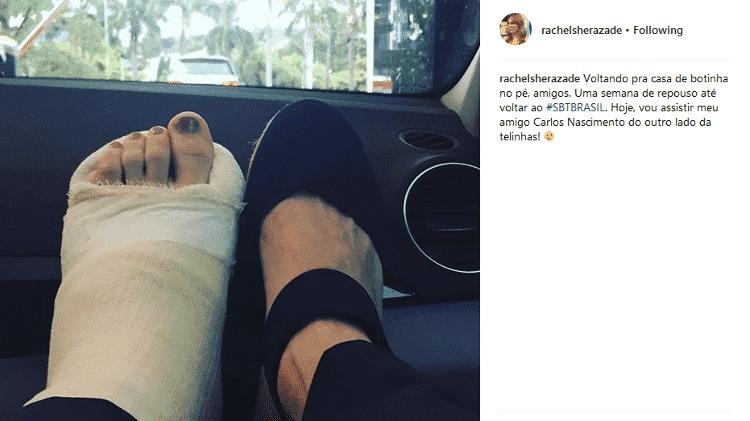 Rachel Sheherazade publica foto com o pé imobilizado - Reprodução/Instagram - Reprodução/Instagram