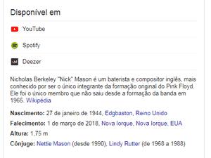 Nick Mason, baterista do Pink Floyd, dado como morto em busca no Google - Reprodução - Reprodução